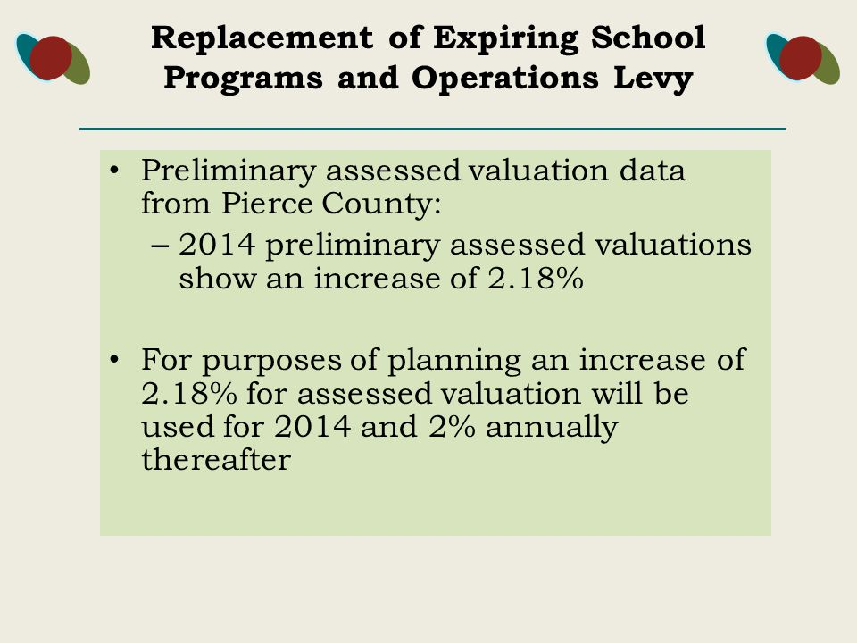 Preliminary assessed valuation data from Pierce County: – 2014 preliminary assessed valuations show an increase of 2.18% For purposes of planning an increase of 2.18% for assessed valuation will be used for 2014 and 2% annually thereafter Replacement of Expiring School Programs and Operations Levy