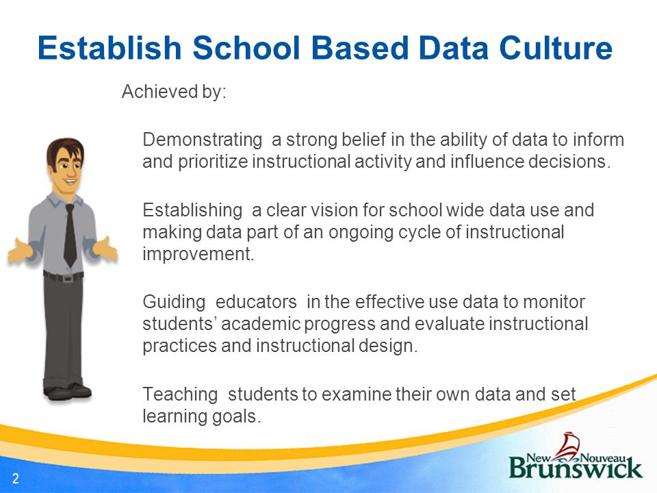 Establish School Based Data Culture Achieved by: Demonstrating a strong belief in the ability of data to inform and prioritize instructional activity and influence decisions.