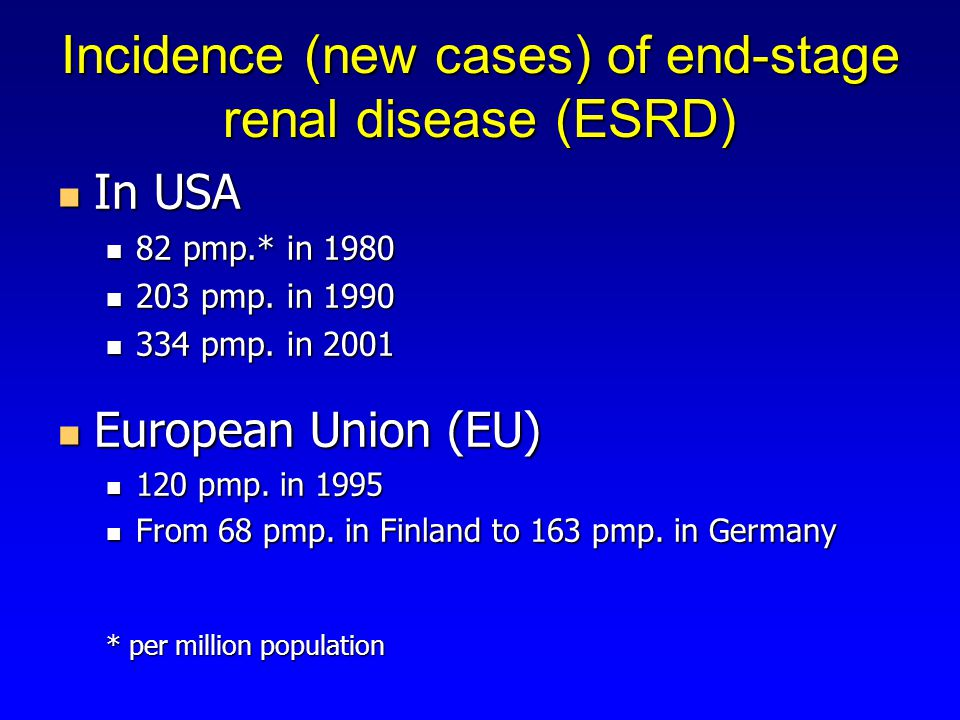 Incidence (new cases) of end-stage renal disease (ESRD) In USA In USA 82 pmp.* in pmp.* in pmp.