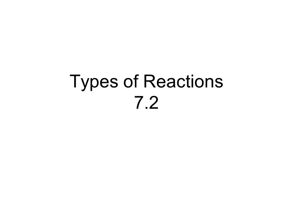 Types of Reactions 7.2