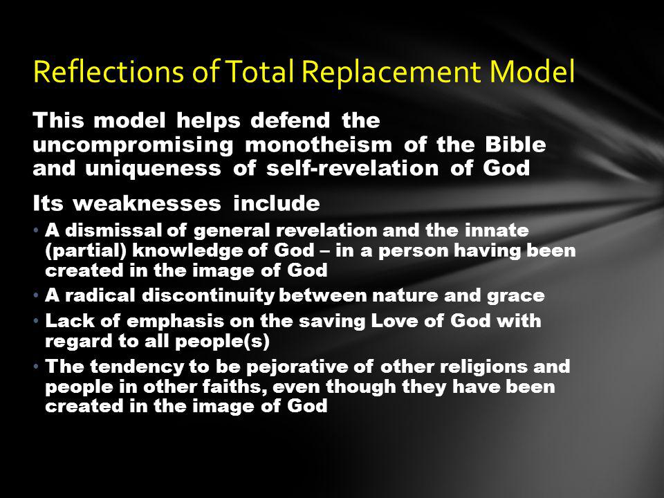 This model helps defend the uncompromising monotheism of the Bible and uniqueness of self-revelation of God Its weaknesses include A dismissal of gene
