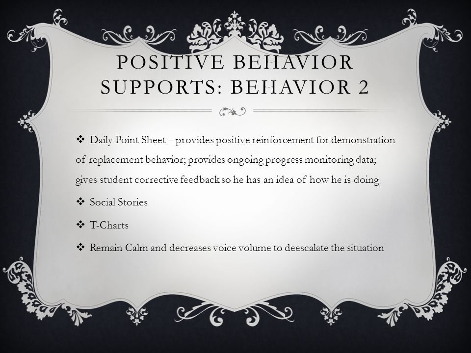 POSITIVE BEHAVIOR SUPPORTS: BEHAVIOR 2 Daily Point Sheet – provides positive reinforcement for demonstration of replacement behavior; provides ongoing