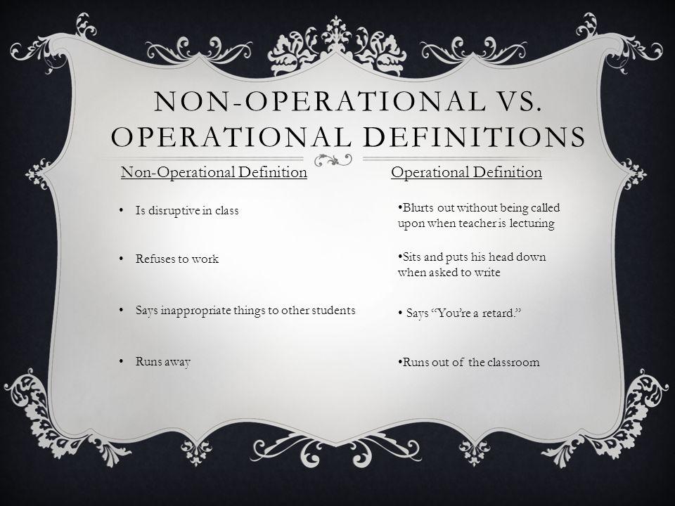 NON-OPERATIONAL VS.