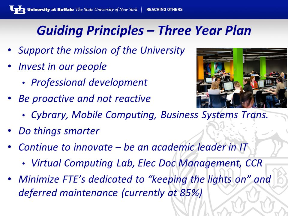 Guiding Principles – Three Year Plan Support the mission of the University Invest in our people Professional development Be proactive and not reactive Cybrary, Mobile Computing, Business Systems Trans.