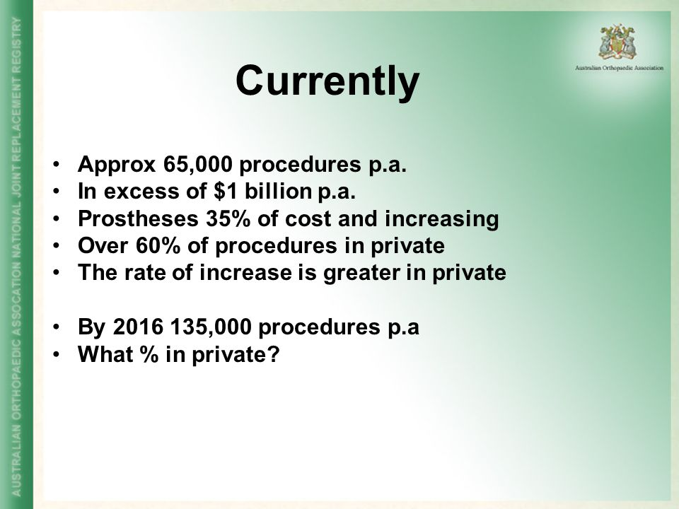Outcomes Registry uses Revision is an indication of failure of a joint replacement procedure Proportion of Procedures undertaken that are revisions 2001 Hip 14.2%Knee 10% 2005Hip 12.1%Knee 8.2% As good or better than most countries