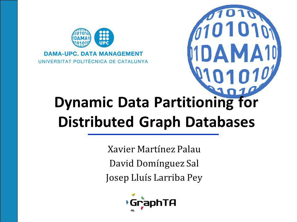 Dynamic Data Partitioning Experiments Scalability with cluster size Tested up to 32 machines Systems compared Static partitioning Dynamic partitioning (ours) R-MAT graph 37M vertices 1B edges Queries: BFS and k-hops 12
