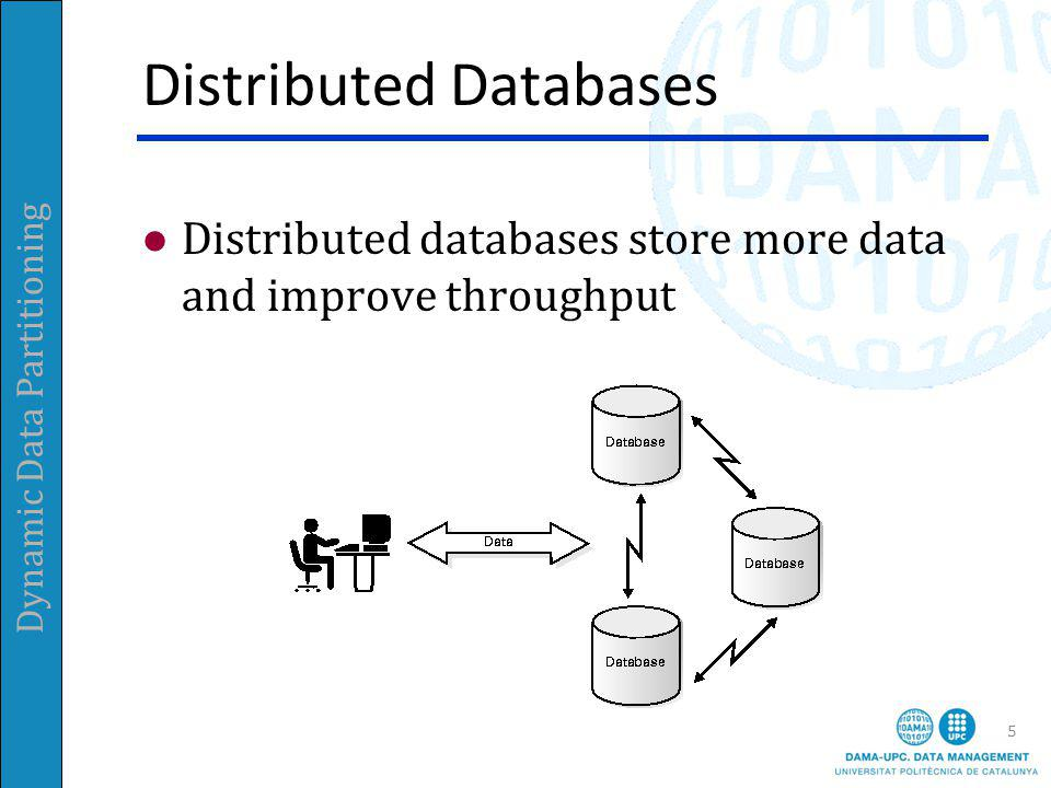Dynamic Data Partitioning Distributed Databases 5 Distributed databases store more data and improve throughput