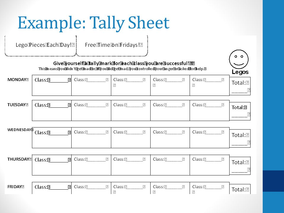 Example: Tally Sheet