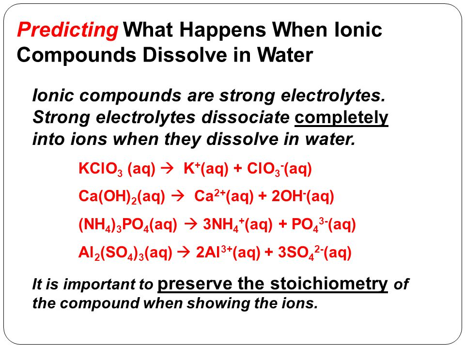 Predicting What Happens When Molecular Compounds Dissolve in Water Some molecular compounds are strong electrolytes.