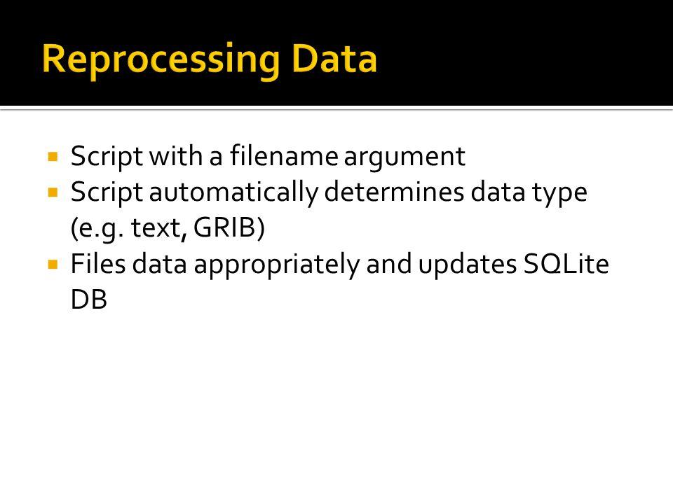 Script with a filename argument Script automatically determines data type (e.g.