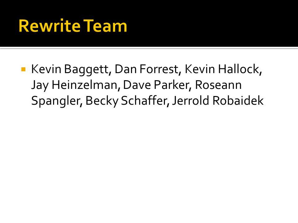 Kevin Baggett, Dan Forrest, Kevin Hallock, Jay Heinzelman, Dave Parker, Roseann Spangler, Becky Schaffer, Jerrold Robaidek