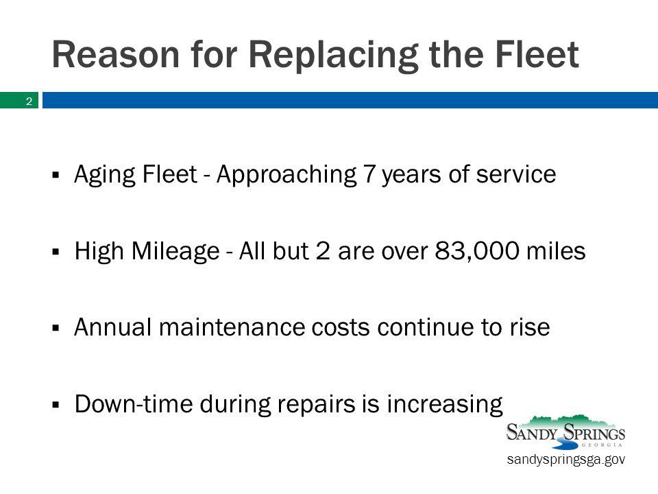 sandyspringsga.gov Current Fleet / Mileage 4- Quints / 2-Engines Quint-183,200 miles Quint-284,100 miles Quint-365,000 miles Quint-473,400 miles Engine-187,100 miles Engine-288,300 miles 3