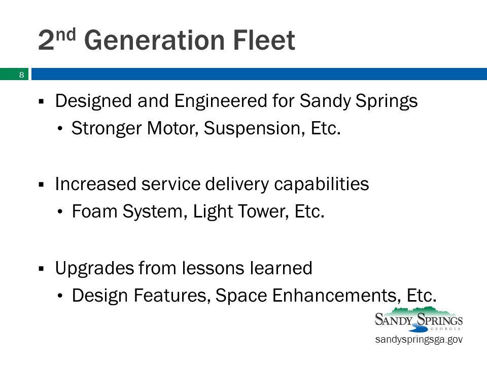 sandyspringsga.gov New Pierce Fleet New fleet will consist of: Two (2) Engine-Pumpers Four (4) Quints 3 will have 105 Ladder 1 will have 100 Platform 9