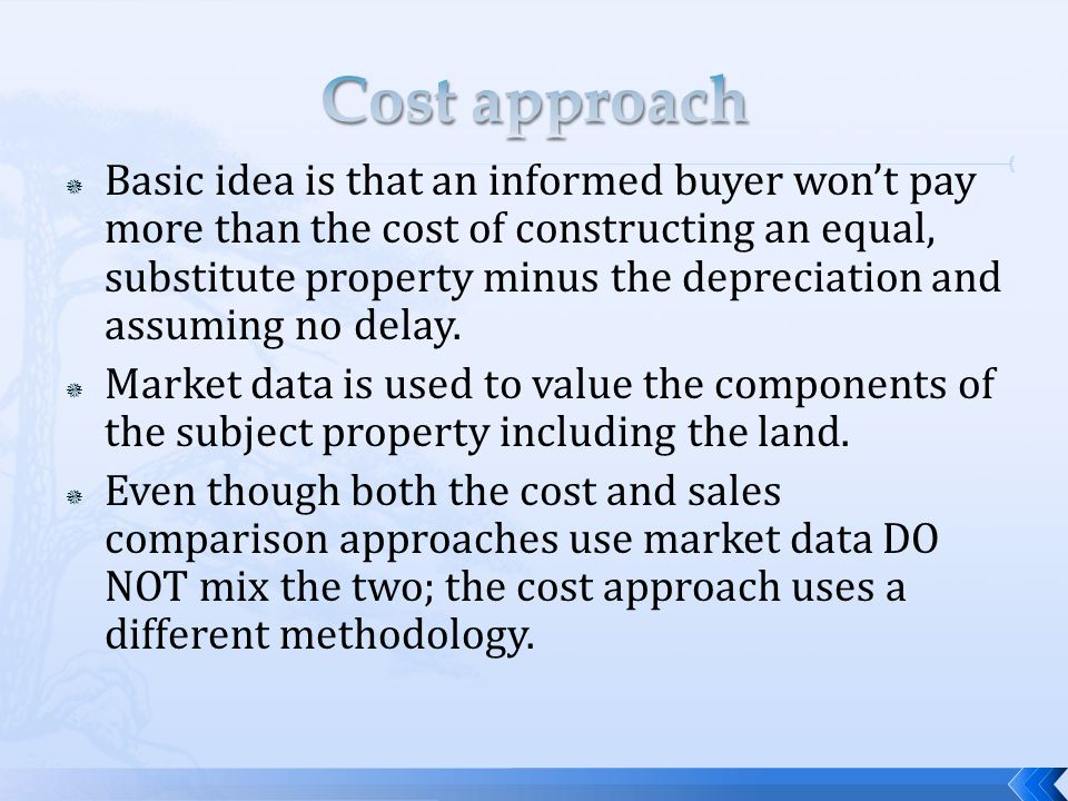 Reproduction cost $600,000 Effective age 15 years Total depreciation percentage 60% Total depreciation ($600,000 * 60%) $360,000 Contributory value of improvements $240,000 Land value$150,000 Value estimated by cost approach$390,000