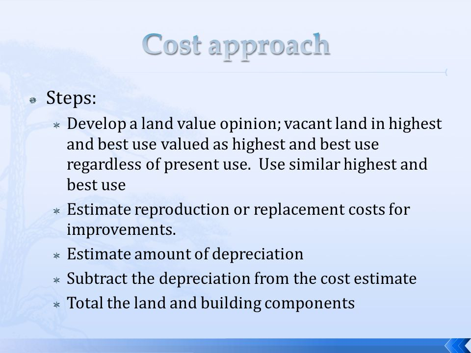 Economic age-life method: Depreciation = Effective age/economic life * replacement cost Actual age is when it was built but there could have been extensive remodeling that would change the effective age; the effective age is based on condition and utility of the structure; there are judgments that has to be made Economic life is the time where the improvements contribute to the property value; they can be extended Remaining economic life is time left where the improvements continue to contribute to the property value