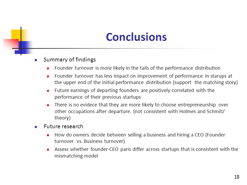 Conclusions Summary of findings Founder turnover is more likely in the tails of the performance distribution Founder turnover has less impact on improvement of performance in starups at the upper end of the initial performance distribution (support the matching story) Future earnings of departing founders are positively correlated with the performance of their previous startups There is no evidece that they are more likely to choose entrepreneurship over other occupations after departure.