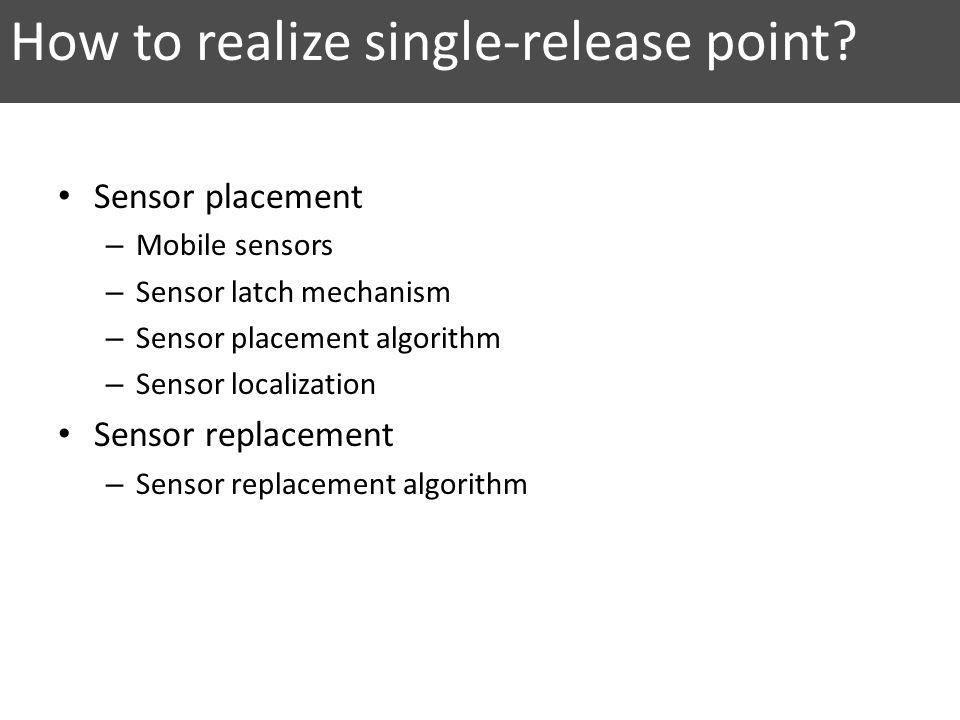 How to realize single-release point? Sensor placement – Mobile sensors – Sensor latch mechanism – Sensor placement algorithm – Sensor localization Sen