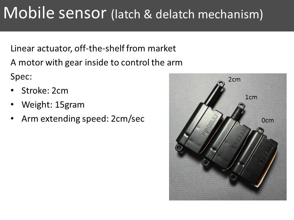 Mobile sensor (latch & delatch mechanism) Linear actuator, off-the-shelf from market A motor with gear inside to control the arm Spec: Stroke: 2cm Wei