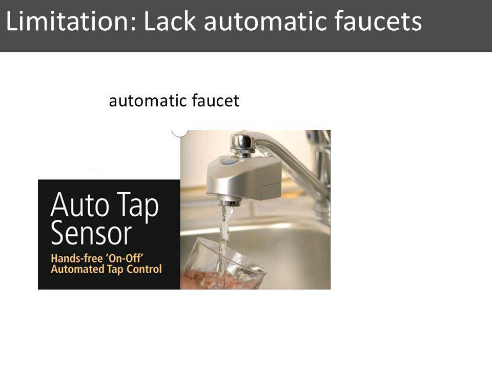 automatic faucet Limitation: Lack automatic faucets