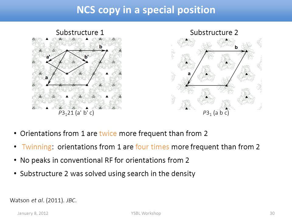 NCS copy in a special position January 8, 2012YSBL Workshop30 Watson et al. (2011). JBC. P3 1 21 (a' b' c) P3 1 (a b c) Substructure 1 Substructure 2