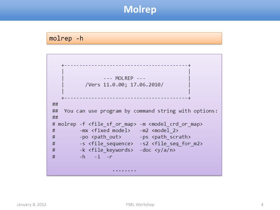 January 8, 2012YSBL Workshop4 Molrep +-----------------------------------------+ | | | --- MOLREP --- | | /Vers 11.0.00; 17.06.2010/ | | | +----------