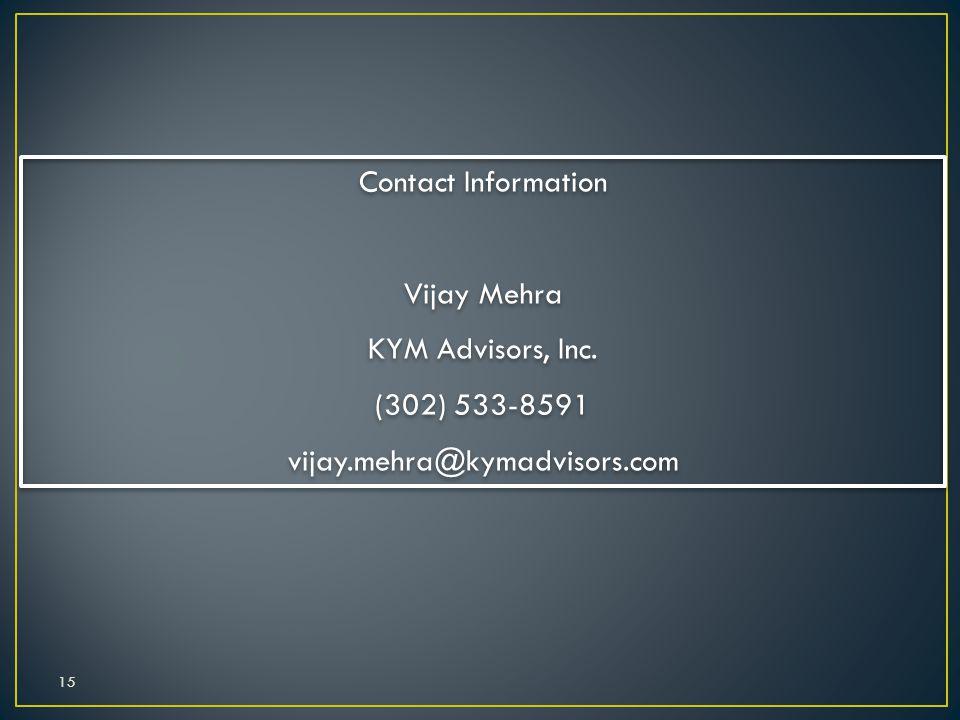 15 Contact Information Vijay Mehra KYM Advisors, Inc. (302) 533-8591 vijay.mehra@kymadvisors.com Contact Information Vijay Mehra KYM Advisors, Inc. (3