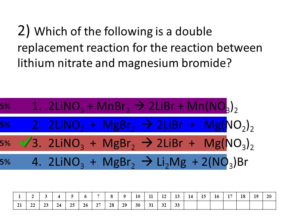 2) Which of the following is a double replacement reaction for the reaction between lithium nitrate and magnesium bromide.