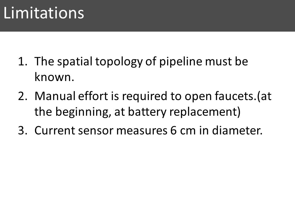 Limitations 1.The spatial topology of pipeline must be known.