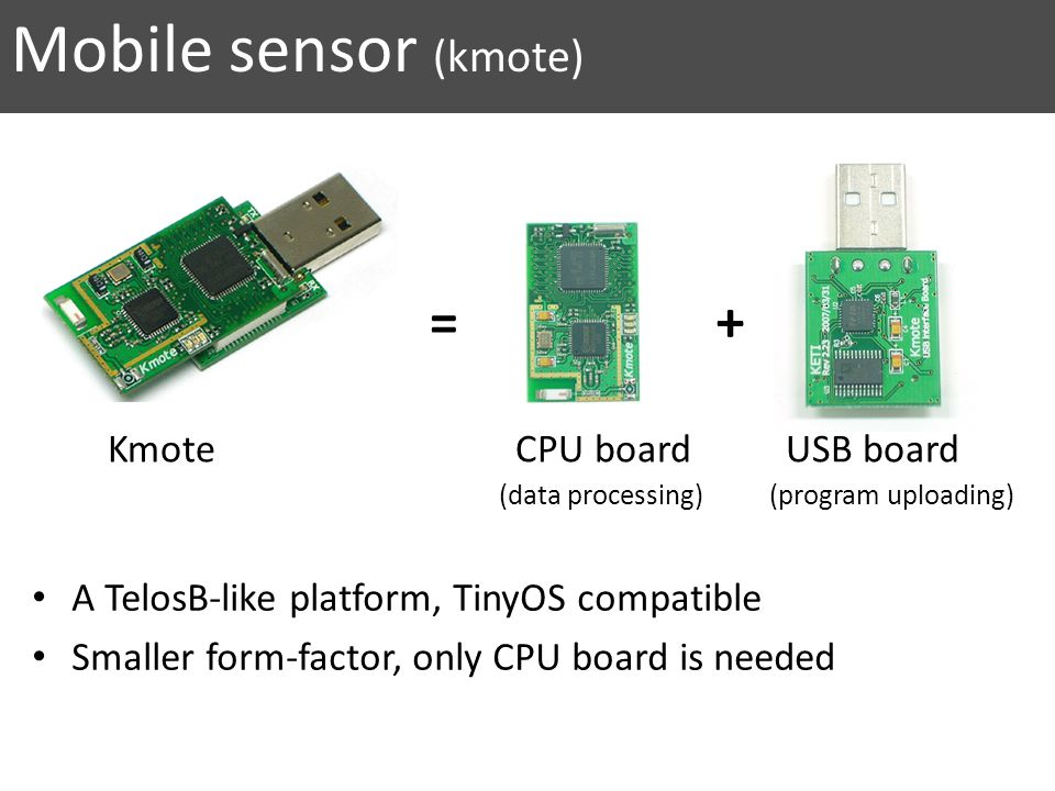 A TelosB-like platform, TinyOS compatible Smaller form-factor, only CPU board is needed = + Kmote CPU board USB board Mobile sensor (kmote) (data processing) (program uploading)