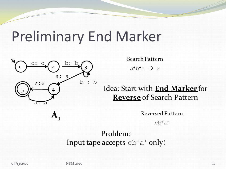 Preliminary End Marker 04/13/2010NFM 201011 1 c: c 5 234 b: b a: a ε:$ b : b a: a A1A1 a + b + c x Search Pattern Idea: Start with End Marker for Reverse of Search Pattern Problem: Input tape accepts cb + a + only.
