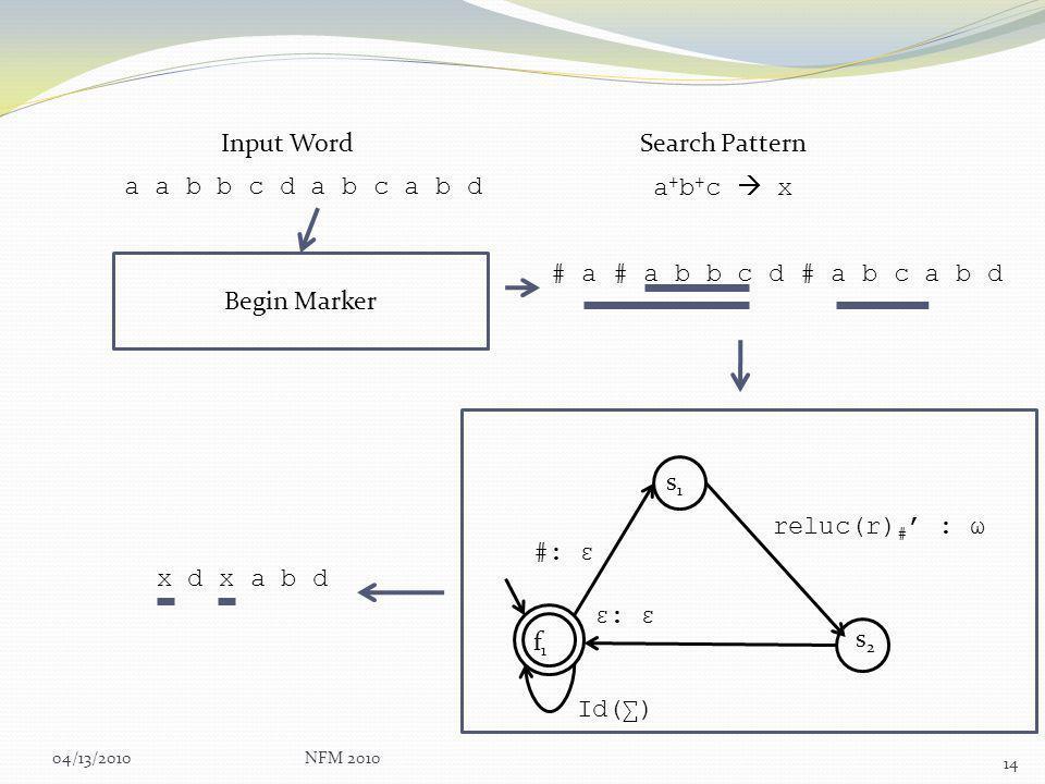 04/13/2010NFM 2010 14 a a b b c d a b c a b d Input Word a + b + c x Search Pattern #: ε reluc(r) # : ω ε: ε Id() f1f1 s1s1 s2s2 Begin Marker # a # a b b c d # a b c a b d x d x a b d