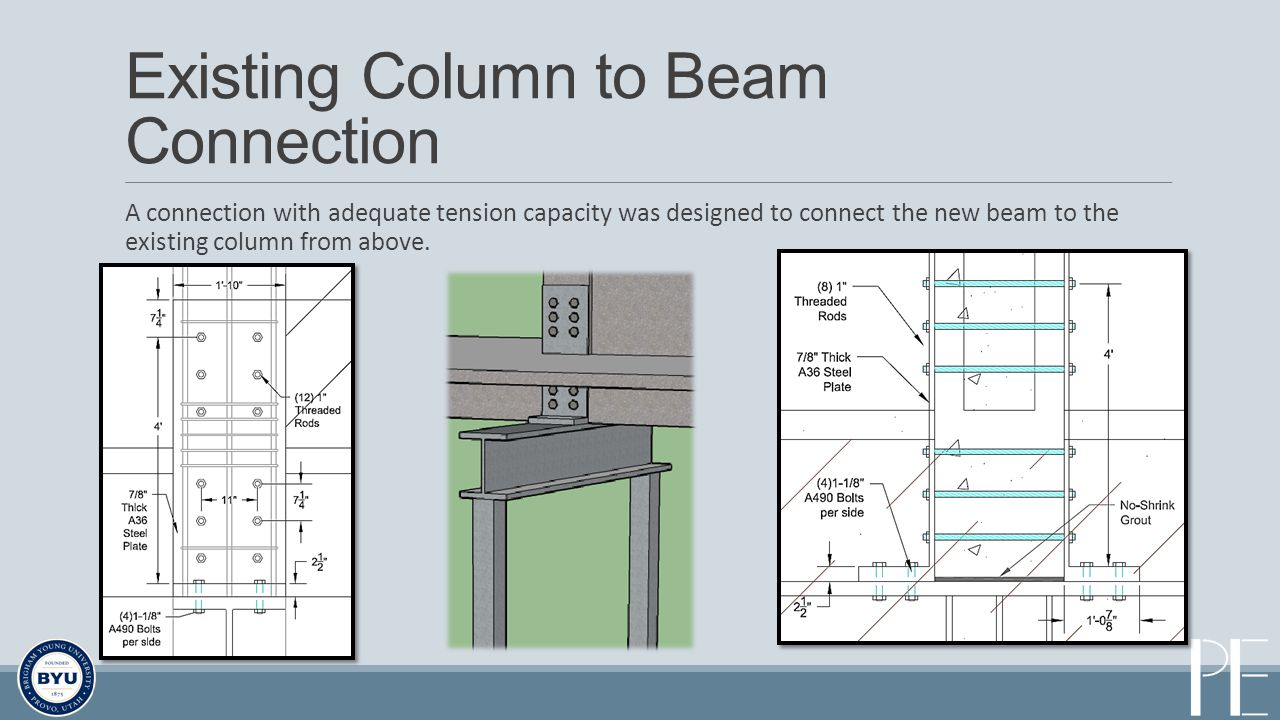 Existing Column to Beam Connection A connection with adequate tension capacity was designed to connect the new beam to the existing column from above.