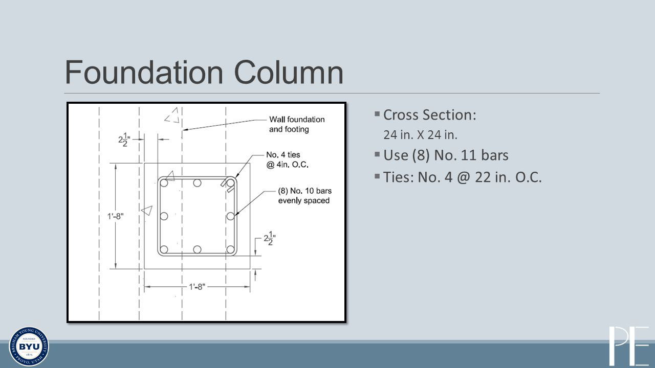 Foundation Column Cross Section: 24 in. X 24 in. Use (8) No. 11 bars Ties: No. 4 @ 22 in. O.C.