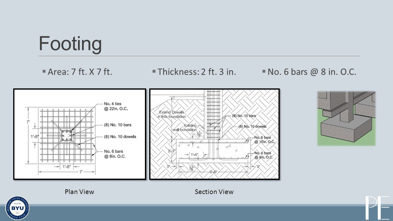 Footing Area: 7 ft. X 7 ft. Thickness: 2 ft. 3 in. No. 6 bars @ 8 in. O.C. Plan ViewSection View