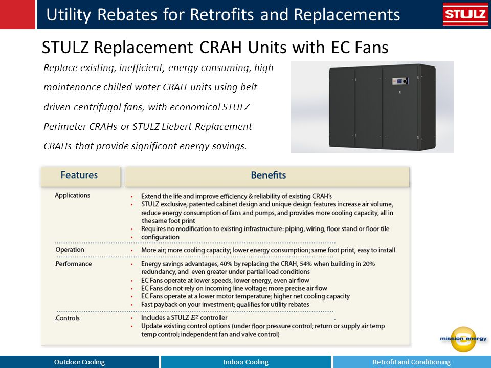 Outdoor CoolingIndoor CoolingRetrofit and Conditioning Utility Rebates for Retrofits and Replacements STULZ Liebert Replacement CRAHs For Existing Floor Mounted Chilled Water Systems In a Direct Comparison, the Replacement CRAH achieves 40% Fan Energy Savings Use Stand-by Units & Obtain Even Greater Savings