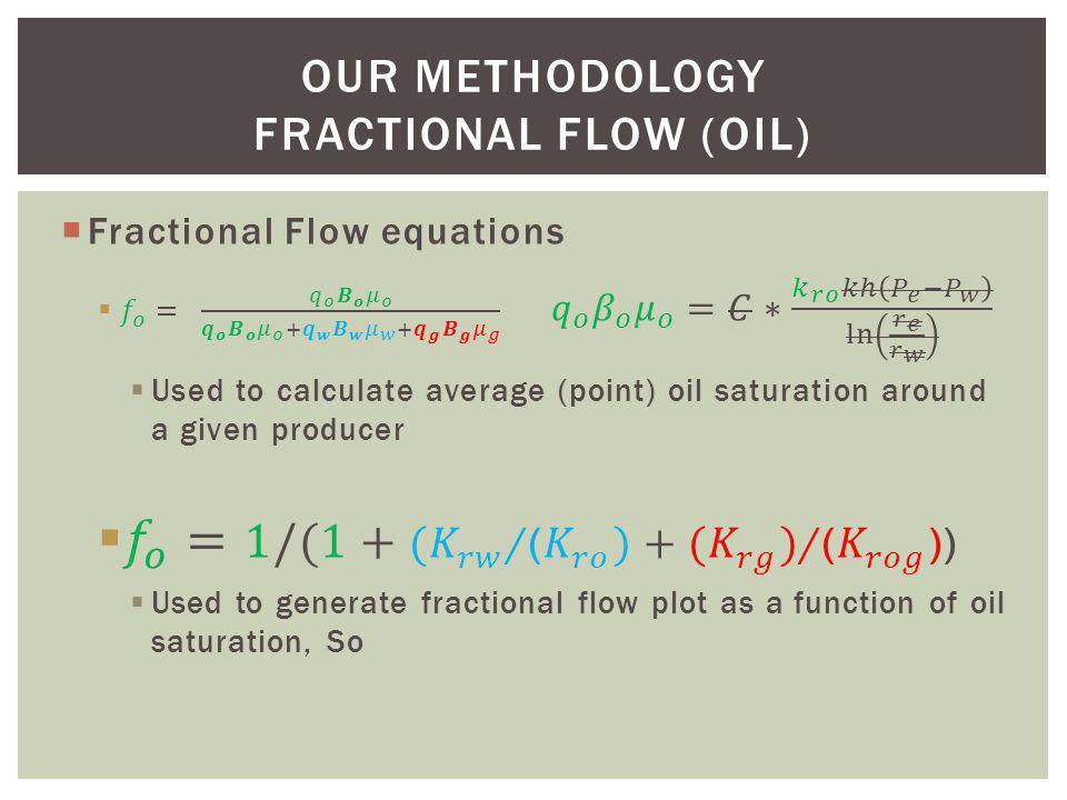 OUR METHODOLOGY FRACTIONAL FLOW (OIL)