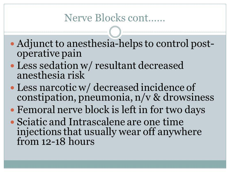 Nerve Blocks cont…… Adjunct to anesthesia-helps to control post- operative pain Less sedation w/ resultant decreased anesthesia risk Less narcotic w/