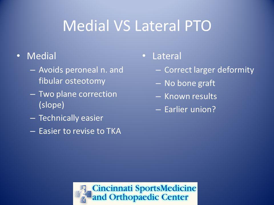 Medial VS Lateral PTO Medial – Avoids peroneal n.