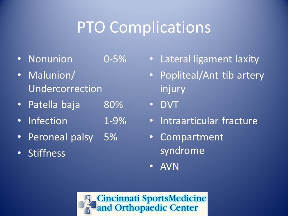 PTO Complications Nonunion0-5% Malunion/ Undercorrection Patella baja80% Infection1-9% Peroneal palsy5% Stiffness Lateral ligament laxity Popliteal/Ant tib artery injury DVT Intraarticular fracture Compartment syndrome AVN