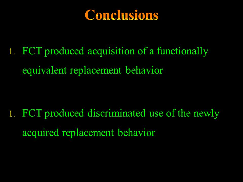 1. FCT produced acquisition of a functionally equivalent replacement behavior 1. FCT produced discriminated use of the newly acquired replacement beha