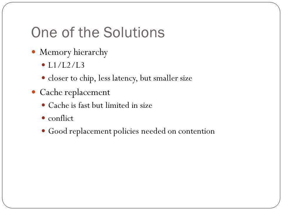 One of the Solutions Memory hierarchy L1/L2/L3 closer to chip, less latency, but smaller size Cache replacement Cache is fast but limited in size conf