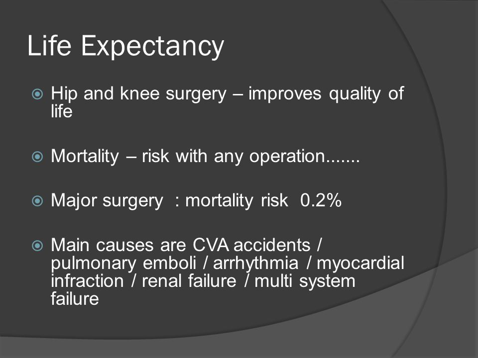 Life Expectancy Hip and knee surgery – improves quality of life Mortality – risk with any operation....... Major surgery : mortality risk 0.2% Main ca