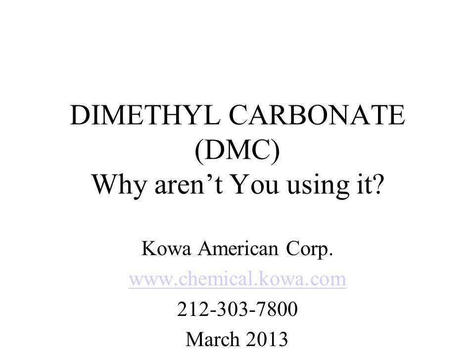 MIR Reactivity Values (2009) MIR gram basisMIR mole basis DMC 0.055 4.95 Ethane 0.26 7.8 Acetone 0.35 20.3 Methyl Acetate 0.067 5.2 Prop Carbonate 0.27 27.56 Benzotrifluoride 0.28 40.91