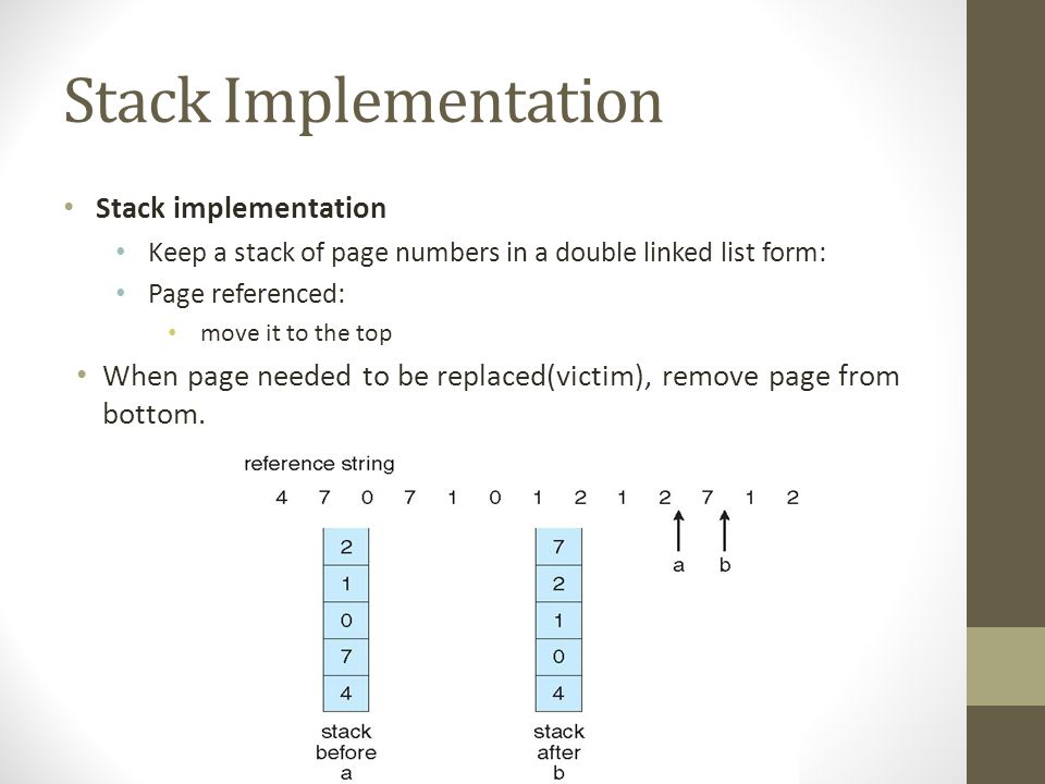 Stack Implementation Stack implementation Keep a stack of page numbers in a double linked list form: Page referenced: move it to the top When page needed to be replaced(victim), remove page from bottom.