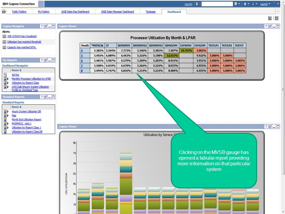 © 2010 IBM Corporation Business Analytics Clicking on the MVSB gauge has opened a tabular report providing more information on that particular system