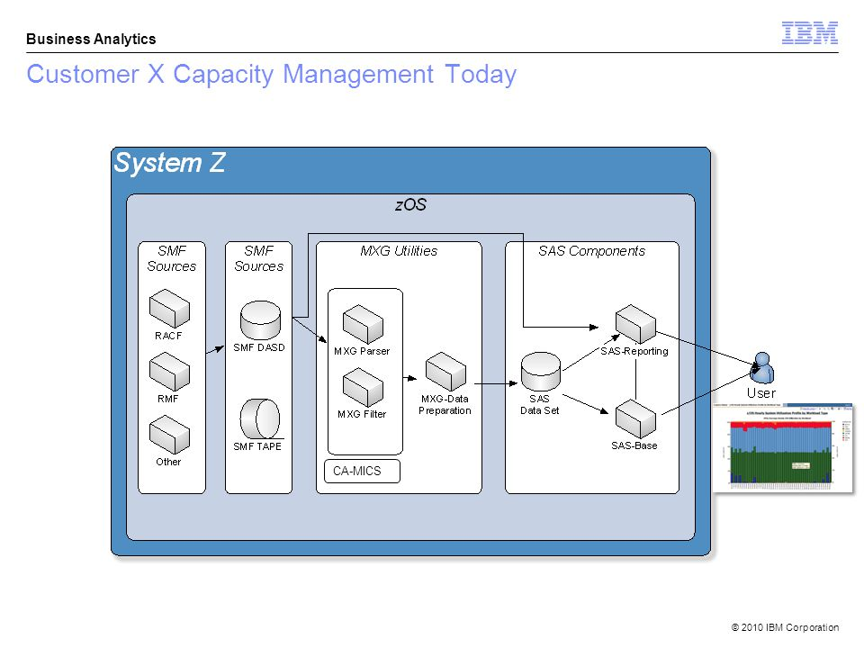 © 2010 IBM Corporation Business Analytics Customer X Capacity Management Today CA-MICS