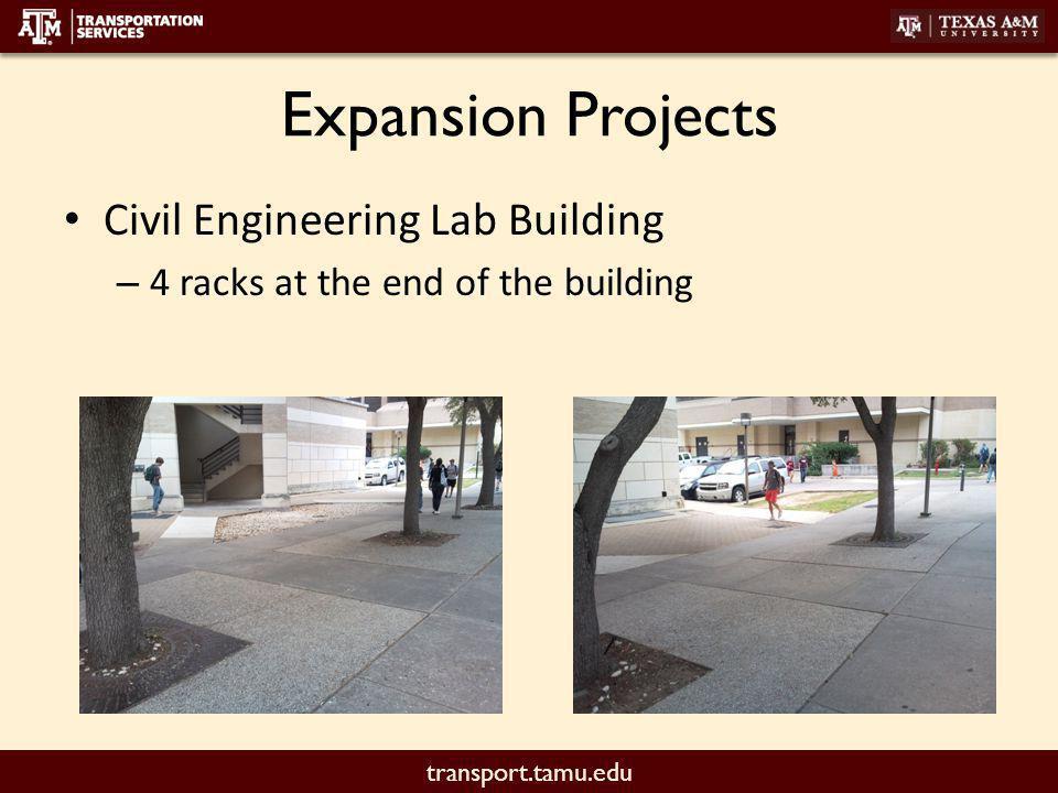 transport.tamu.edu Expansion Projects Pi R Square – Racks along the wall (6-8 racks)