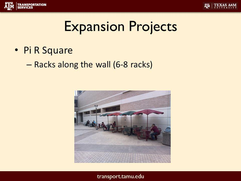transport.tamu.edu Expansion Projects Pi R Square – Racks along the wall (6-8 racks)