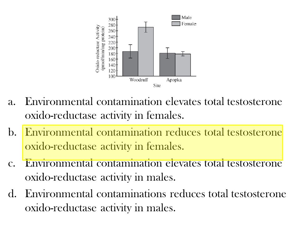 a.Environmental contamination elevates total testosterone oxido-reductase activity in females.