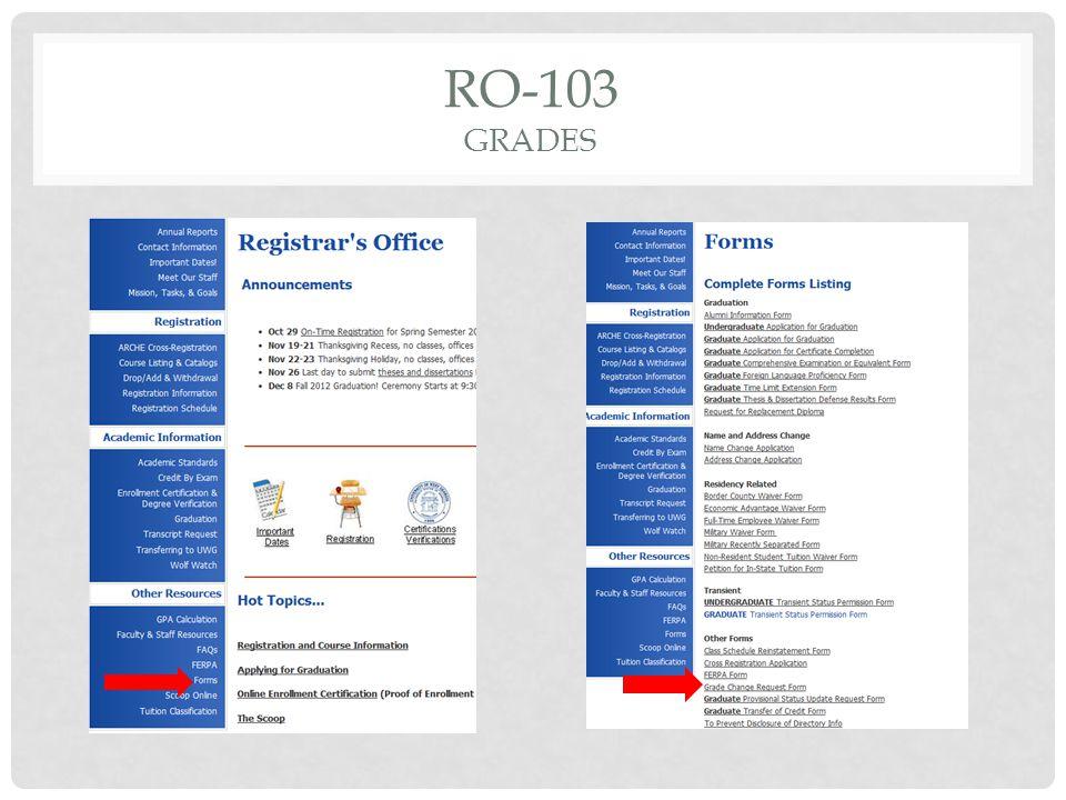 RO-103 GRADES